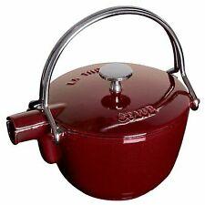 Staub 1650087 1 Quart Cast Iron Round Teapot Tea Kettle Grenadine