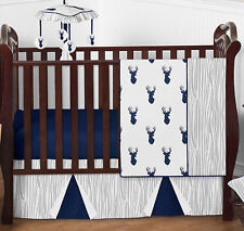 Sweet Jojo Woodland Navy and Gray Deer Baby Boy Bumperless 4 Pc Bedding Crib Set