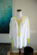 Boho Poets Shirt White Sheer Embroidered Tunic Yellow Tassel Zara Taraluc Size S