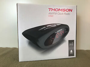 BNIB Thomson Brand AM/FM CR40 LED Clock Radio Alarm Clock Backup Battery Option