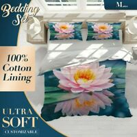 Lotus Pond Floral Flowers Pink Duvet Cover Sets with 2x Matching Pillowcases