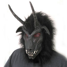 Dark One Goat Devil Black Demon Horned Cosplay Adult Latex Halloween Mask