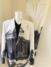 "Yohji Yamamoto Pour Homme White Temple Ruin Suit Trousers (38"") Jacket (48"") '56"