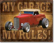 """16"""" X 12 1/2"""" MY GARAGE MY RULES HOT ROD METAL SIGN NEW"""