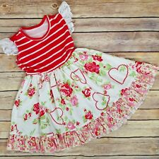 Cheeky Plum Boutique Dress 2T Valentine Hearts Floral Ruffles Girls Outfit Red