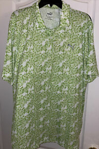 PUMA Mens Eleven Golf Polo Shirt Green Floral Moisture Management Stretch XL New