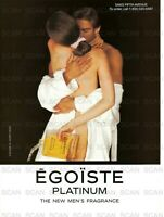1995 Chanel EGOISTE Platinum Vintage Magazine Ad  Men's Fragrance Couple Embrace