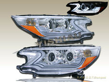 2012-2013 Honda CR-V CRV Clear i8 Style Projector Headlights Amber Reflectors