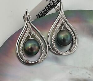High Luster Natural Color Peacock Tahitian Cultured 9mm Pearl Drop Earrings