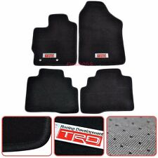 For 07-12 Toyota Yaris Black Nylon Floor Mats Carpets 4PC w/ TRD Emblem