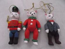 VINTAGE  3PC   CATS  FIGURINES CHRISTMAS  ORNAMENT  4'' TALL