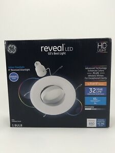 """GE Reveal LED 6"""" 2700K Dimmable Recessed Indoor Downlight With Swivel Head New"""
