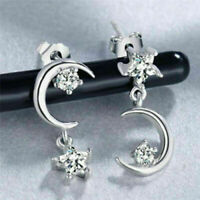 Adorable New Silver Plated Clear Crystal CZ Star & Drop Dangle Moo I1V5 Ear L0Z1