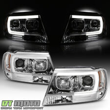 1999-2004 Jeep Grand Cherokee LED Light Tube Halo Projector Headlights Headlamps
