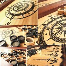 Backgammon Groß WIND STIEG AUF LUX NEU Tischspiel Naturholz Handarbeit 510x510mm