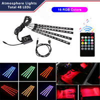 4x 48 LED RGB Car Interior USB Atmosphere Floor Light Strip+Music Remote Control
