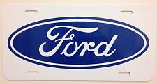 Ford license plate car truck vanity tag gloss white alumium with blue logo