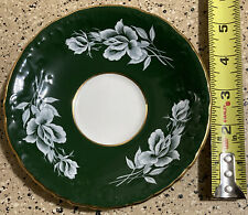 """Vintage Aynsley England fine china SAUCER ONLY white rose & green GOLD TRIM 5"""""""