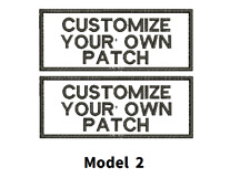 "LOGO CUSTOMIZED EMBROIDED  PATCH   4"" X 2""  text only  TWO PATCHES"