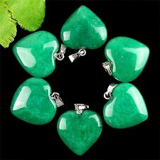 wholesale 6PCS Beautiful heart green jade Pendant bead BC3977