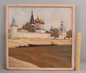 Orig Orest Vladimirovich Sleshinsky Russian Monastery Volga River Oil Painting