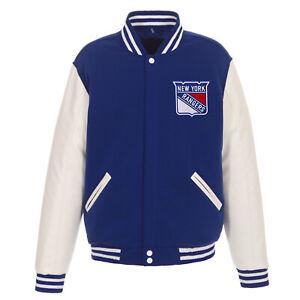 NHL New York Rangers Reversible Fleece Jacket PVC Sleeves 2 Front Logos JH Desig