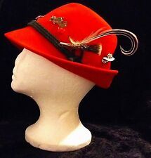 VINTAGE Red Wool Hat Switzerland Germany Salzburg Norge Travel pins Feather EUC