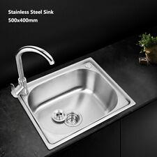 Stainless Steel Kitchen Sink Laundry Sinks Under/Topmount Single Bowl 500x400mm