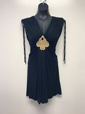 Sky Brand Black Ruched Dress with Wooden Bead Detail Size Medium