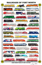 "Railroads of Fort Worth 11""x17"" Poster Andy Fletcher signed"