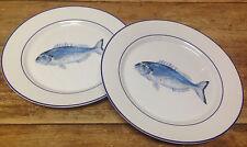 Williams Sonoma La Mer Fish Marc Lacaze Blue NEW 2 Dinner Plates Sea Ocean Beach