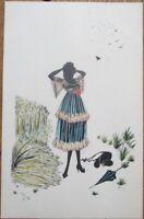 Silhouette 1920s Torzor/Artist-Signed Postcard - Woman in Wheat Field, Umbrella