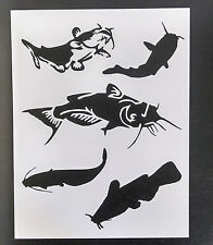 "Catfish Cat Fish Fishing 8.5"" x 11"" Custom Stencil FAST FREE SHIPPING"