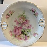 ANTIQUE P.K. SILESIA PORCELAIN DOUBLE HANDLED RETICULATED PLATE