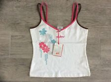 LADIES KICKERS FLOWER PATTERN  STRAPPY VEST TOP WHITE / FISCIA SIZE 10