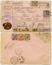 AUSTRIA 1890 REGISTERED PARCEL CARD to ITALY STAMP MISSING PALERMO