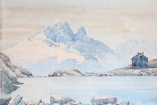 J.CHABRAISON AQUARELLE aiguille verte,grandes Jorasses,vue du Lac Blanc