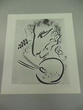 "MARC CHAGALL HAND SIGNED LITHOGRAPH IN PENCIL ""SELF PORTRAIT""  1975 W/COA"