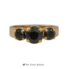 Round Black Diamond 1.75cttw 3 Stone Ring in Wide 18K Yellow Gold Mounting