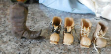 5 Hand Carved Wood Wooden Miniature Work & Western Boots- Decorative Signed