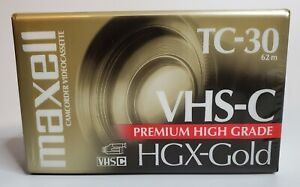 Maxell TC-30 VHS-C Premium High Grade HGX-Gold Camcorder Tapes NEW SEALED