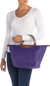 Longchamp Medium Le Pliage Purple Nylon Tote