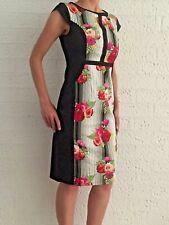 Women's Floral Roses Cap Sleeve Sheath Dress Formal Cocktail  Midi Dress 8-10-12