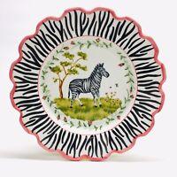 C E Corey ZEBRA 10″ Scalloped Porcelain Dinner Plate Made in Portugal