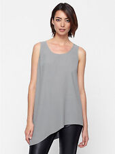 $238 BNWT Eileen Fisher Silk Georgte Crepe PEWTER Side Drape Shell Tunic PS