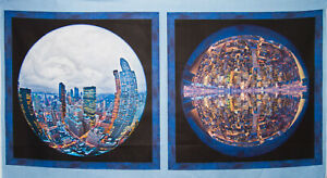 Panel Runde Stadt QTfabrics Patchwork Deko Stoffe  100% BW Kissenstoff (3130)