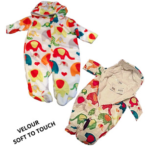 Baby Snowsuit Pramsuit All in 1 Velour Elephants Nursery Time 3-6months Boy Girl