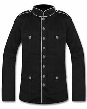 Mens Military Jacket Black White & Red Goth Steampunk Army Officer Pea Coat