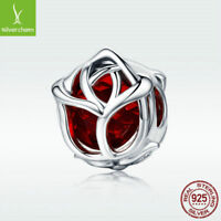 Elegant 925 Sterling Silver Charm Bead Red Rose Flower Diy For Girl Bangle Chain