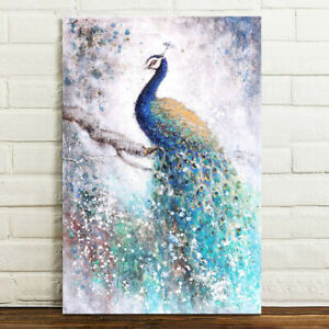 Peacock Canvas Print Wall Art Painting Picture Poster Unframed 75x50cm Gift